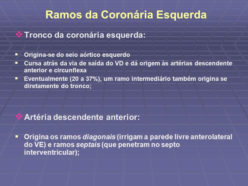 Ramos da Coronária Esquerda Tronco da coronária esquerda: Origina-se do seio aórtico esquerdo Cursa atrás da via de saída do VD e dá origem às artéria
