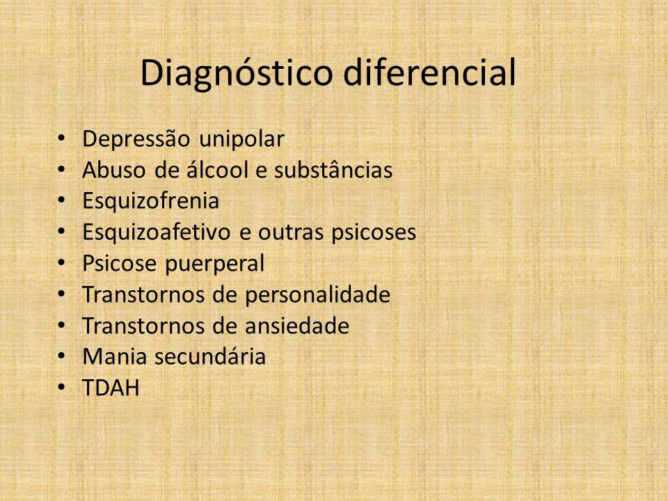 Diagnóstico diferencial Depressão unipolar Abuso de álcool e substâncias Esquizofrenia Esquizoafetivo e outras psicoses Psicose puerperal Transtornos