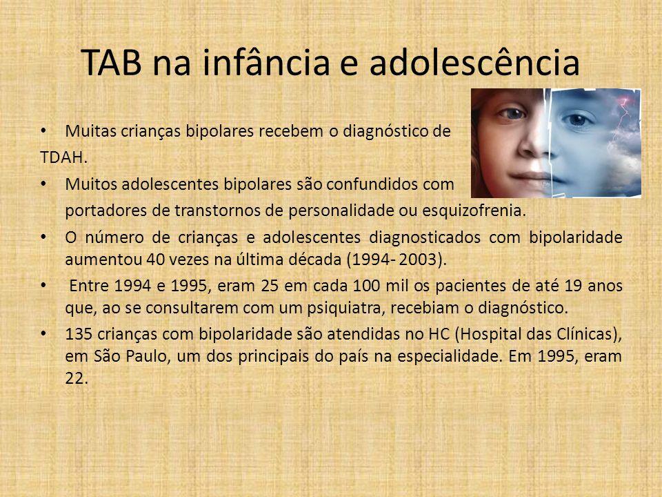 TAB na infância e adolescência Muitas crianças bipolares recebem o diagnóstico de TDAH. Muitos adolescentes bipolares são confundidos com portadores d