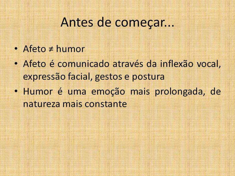 Antes de começar... Afeto humor Afeto é comunicado através da inflexão vocal, expressão facial, gestos e postura Humor é uma emoção mais prolongada, d