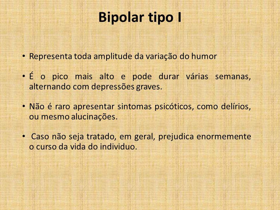 Bipolar tipo I Representa toda amplitude da variação do humor É o pico mais alto e pode durar várias semanas, alternando com depressões graves. Não é