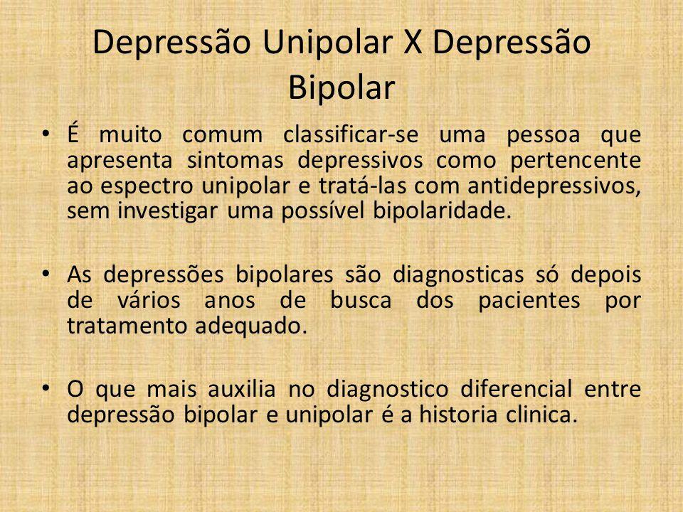 Depressão Unipolar X Depressão Bipolar É muito comum classificar-se uma pessoa que apresenta sintomas depressivos como pertencente ao espectro unipola
