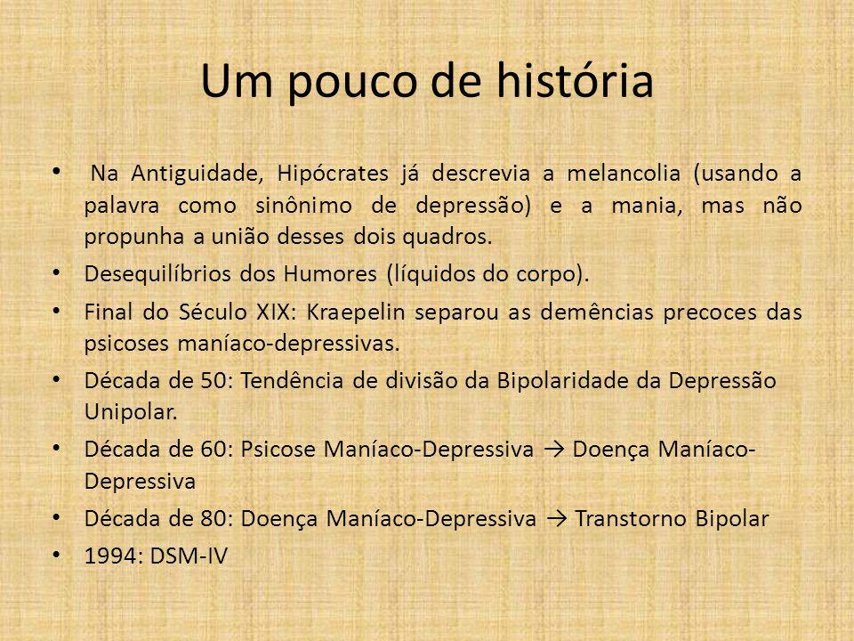 Um pouco de história Na Antiguidade, Hipócrates já descrevia a melancolia (usando a palavra como sinônimo de depressão) e a mania, mas não propunha a