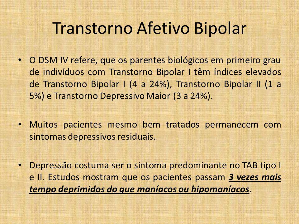 Transtorno Afetivo Bipolar O DSM IV refere, que os parentes biológicos em primeiro grau de indivíduos com Transtorno Bipolar I têm índices elevados de