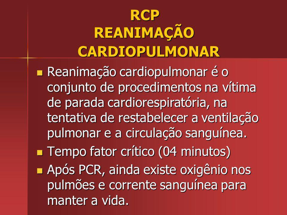 RCP REANIMAÇÃO CARDIOPULMONAR RCP REANIMAÇÃO CARDIOPULMONAR Reanimação cardiopulmonar é o conjunto de procedimentos na vítima de parada cardiorespiratória, na tentativa de restabelecer a ventilação pulmonar e a circulação sanguínea.