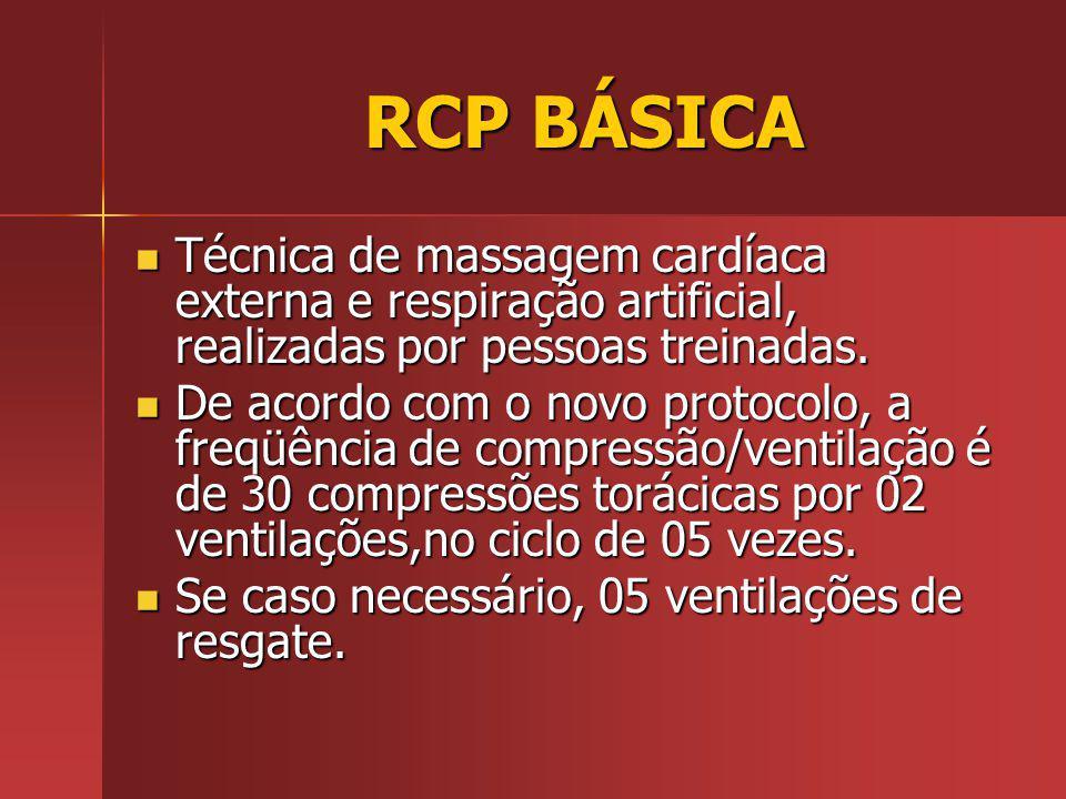 RCP BÁSICA RCP BÁSICA Técnica de massagem cardíaca externa e respiração artificial, realizadas por pessoas treinadas.