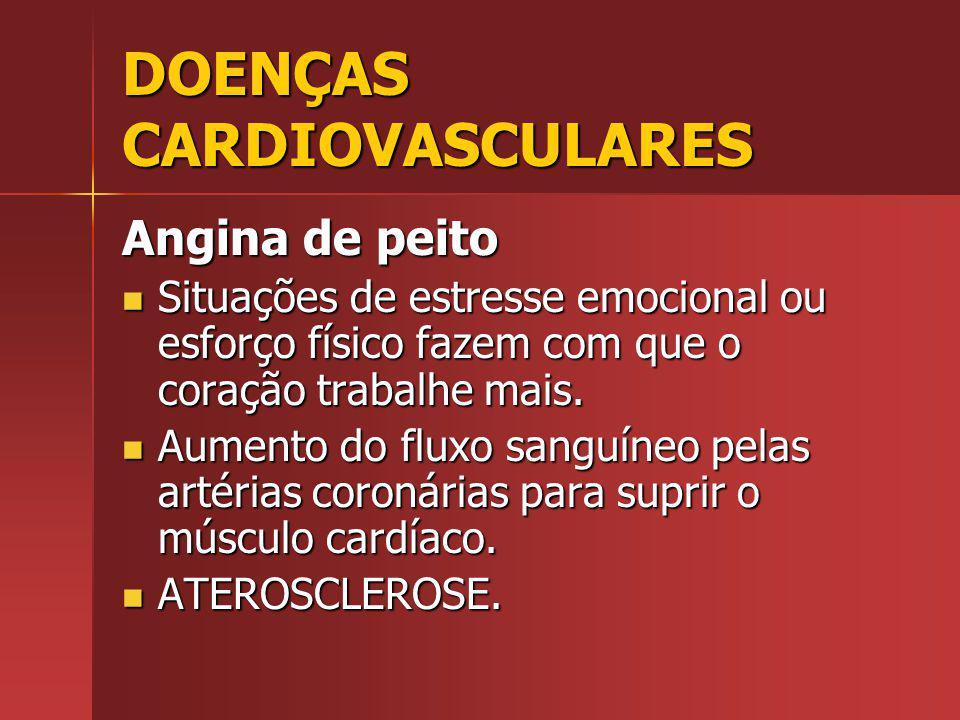 DOENÇAS CARDIOVASCULARES Angina de peito Situações de estresse emocional ou esforço físico fazem com que o coração trabalhe mais.
