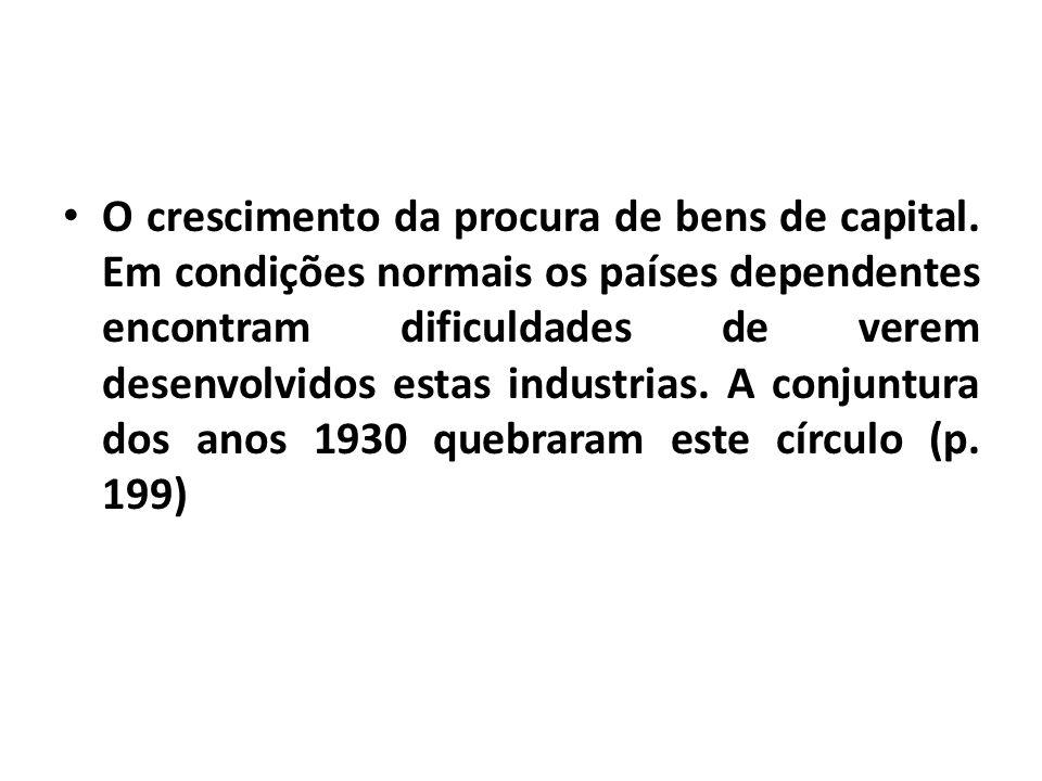 O crescimento da procura de bens de capital.