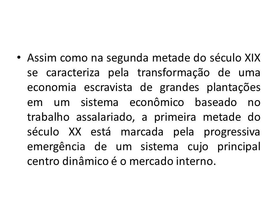 Inexistiam condições para o desenvolvimento de um mercado interno, que só se torna viável quando o organismo econômico, que se caracteriza por uma relativa autonomia tecnológica