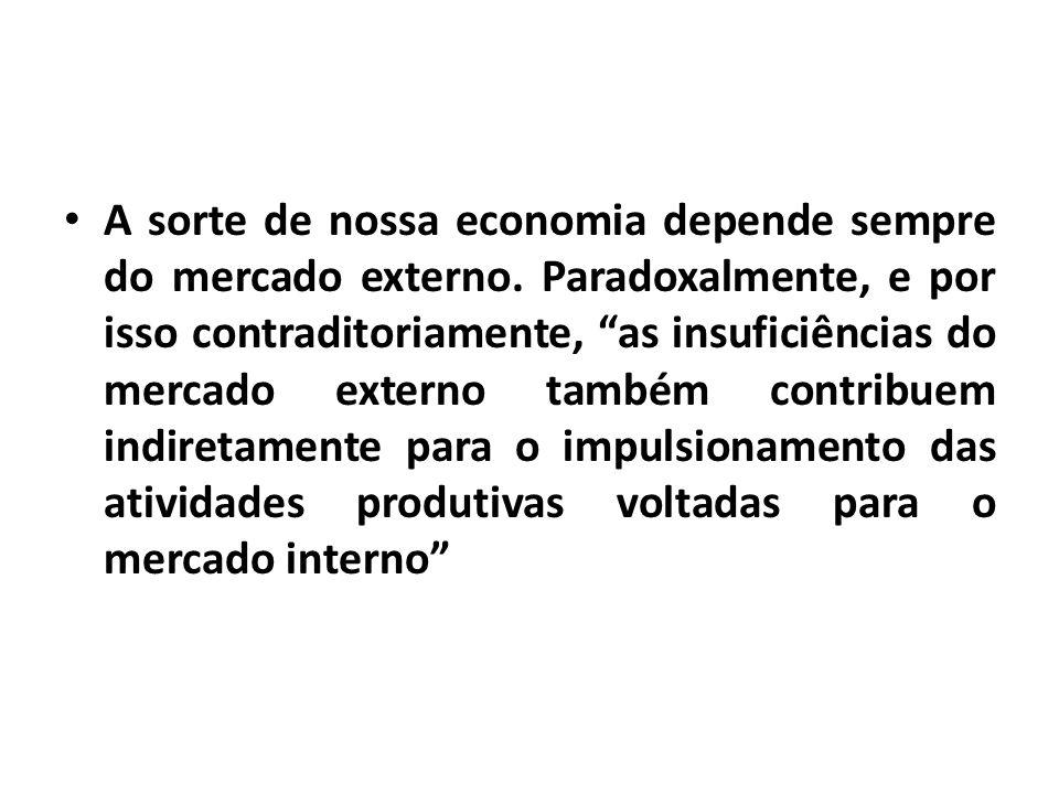 A sorte de nossa economia depende sempre do mercado externo.