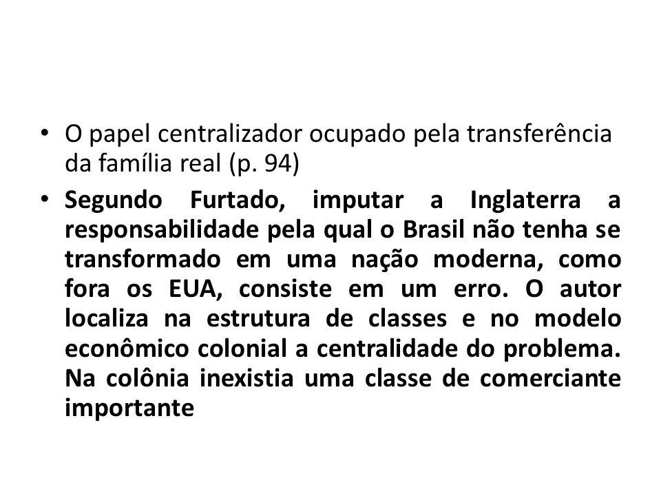 O papel centralizador ocupado pela transferência da família real (p.