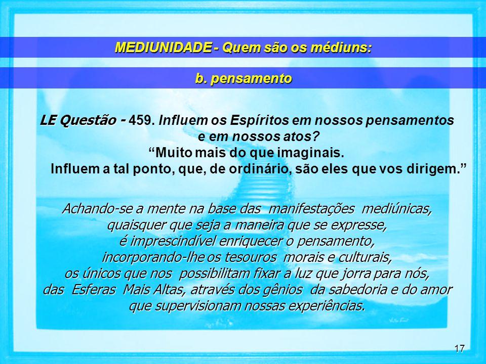 17 LE Questão - LE Questão - 459.Influem os Espíritos em nossos pensamentos e em nossos atos.