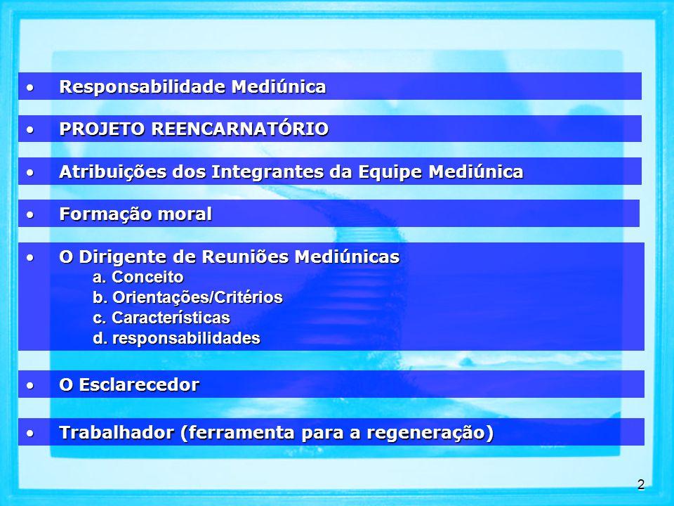 2 PROJETO REENCARNATÓRIOPROJETO REENCARNATÓRIO Atribuições dos Integrantes da Equipe MediúnicaAtribuições dos Integrantes da Equipe Mediúnica O Dirigente de Reuniões MediúnicasO Dirigente de Reuniões Mediúnicas a.
