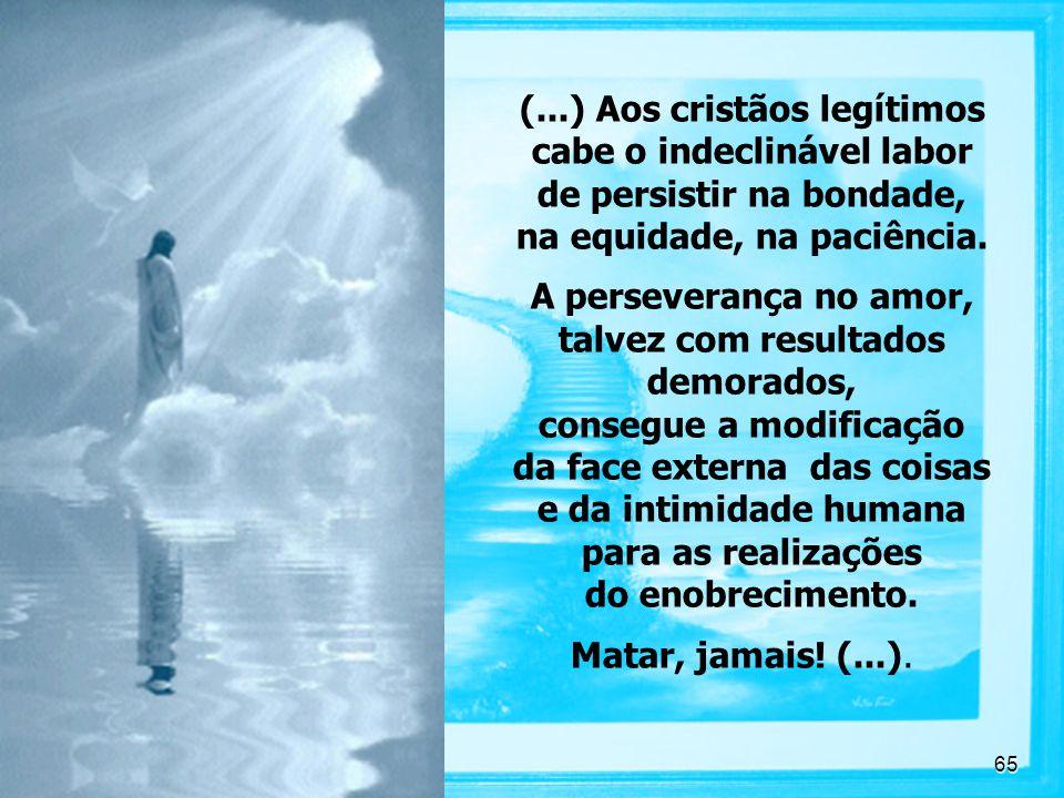 65 (...) Aos cristãos legítimos cabe o indeclinável labor de persistir na bondade, na equidade, na paciência.