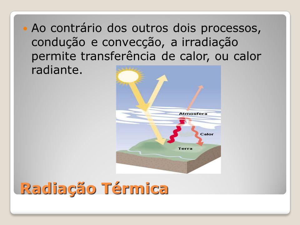 Radiação Térmica Ao contrário dos outros dois processos, condução e convecção, a irradiação permite transferência de calor, ou calor radiante.