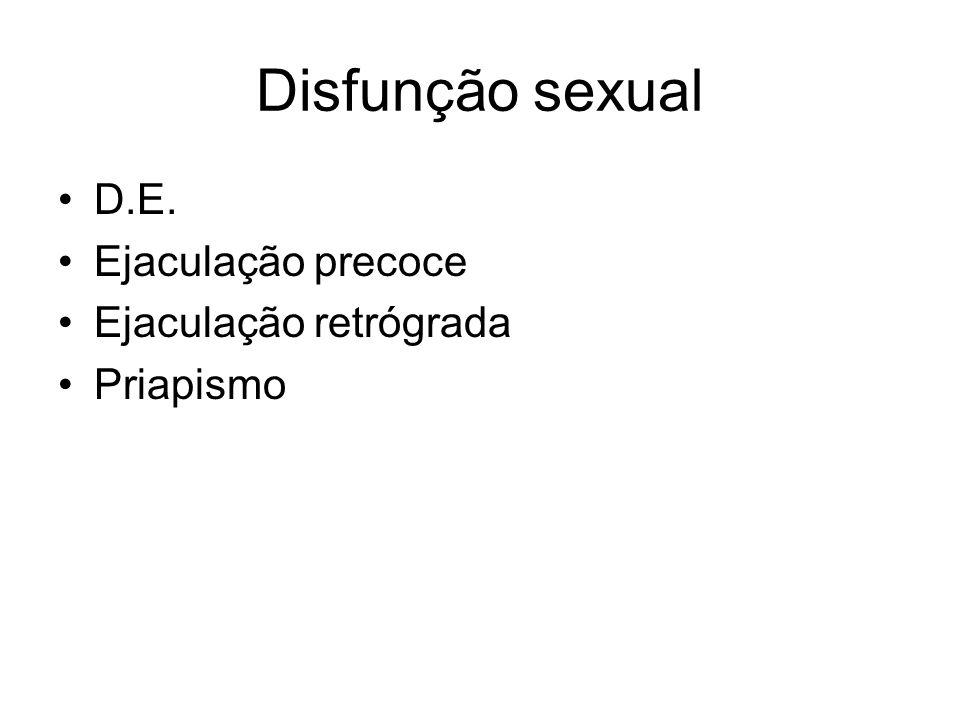 Disfunção sexual D.E. Ejaculação precoce Ejaculação retrógrada Priapismo