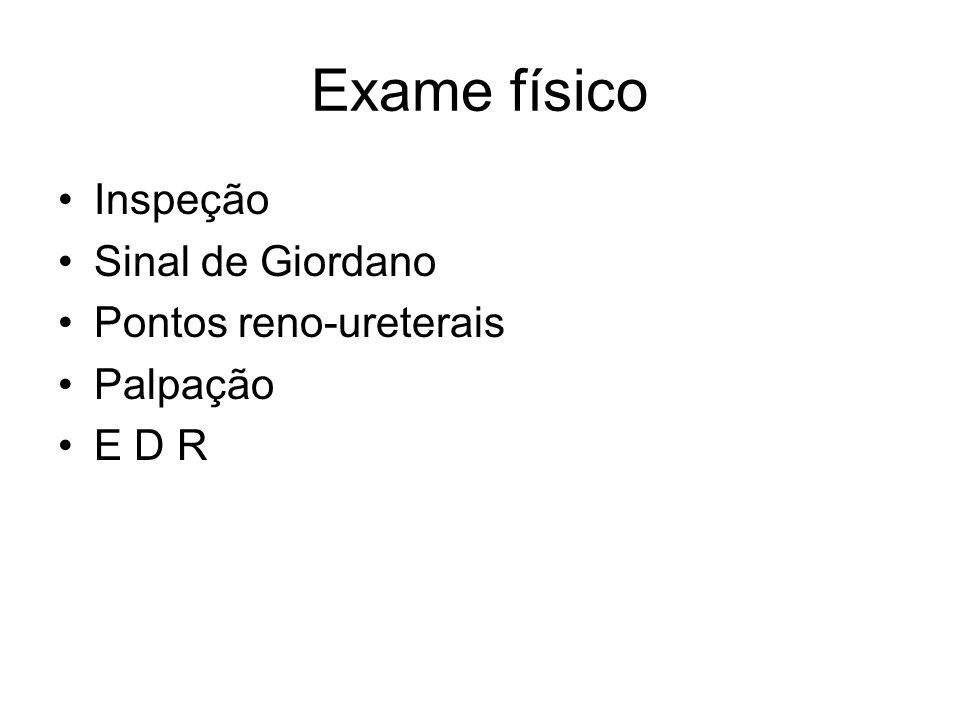 Exame físico Inspeção Sinal de Giordano Pontos reno-ureterais Palpação E D R