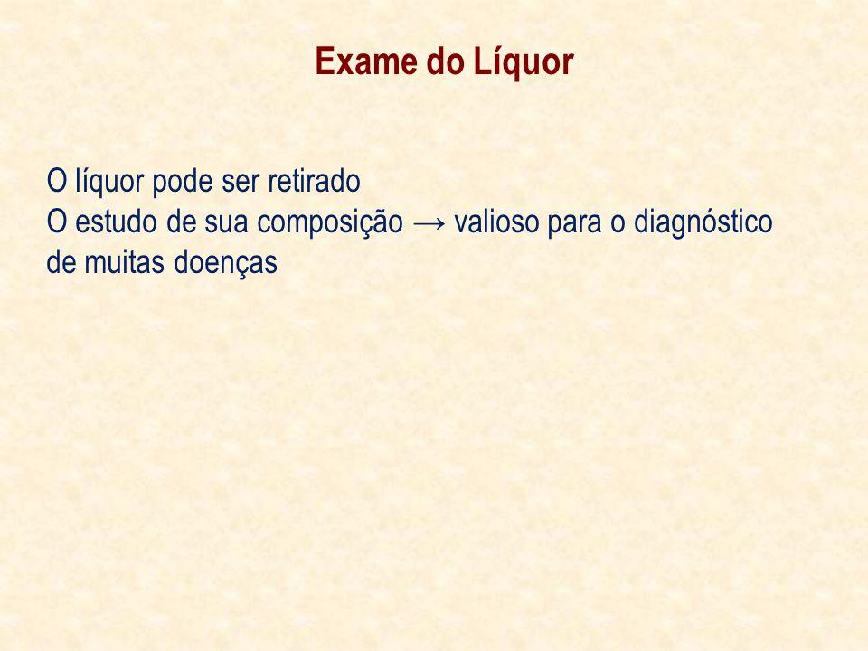 Exame do Líquor O líquor pode ser retirado O estudo de sua composição valioso para o diagnóstico de muitas doenças