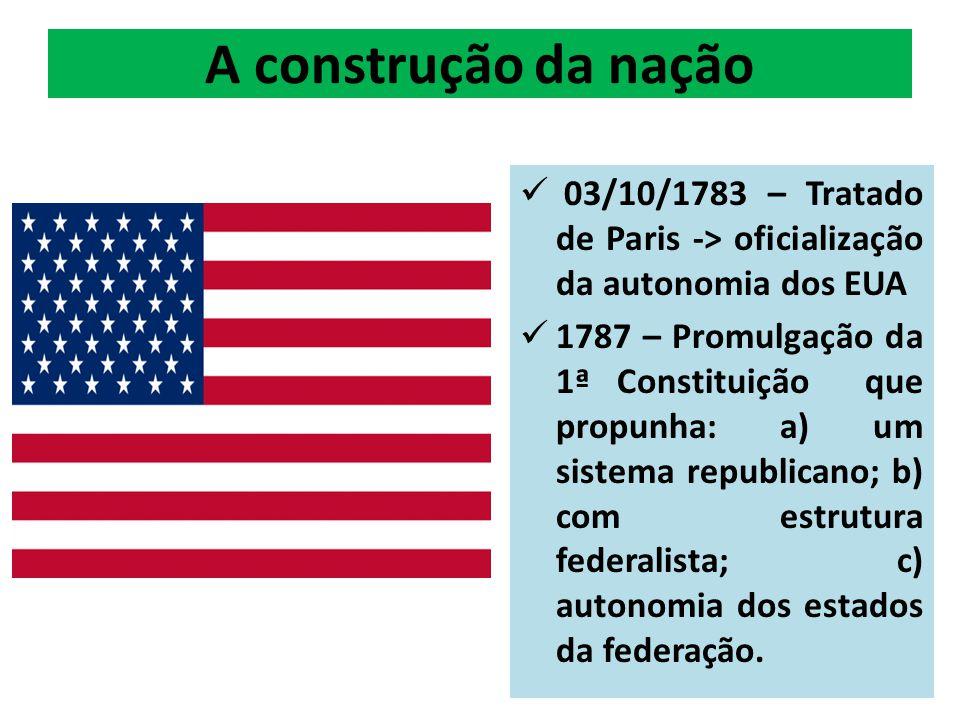 A construção da nação 03/10/1783 – Tratado de Paris -> oficialização da autonomia dos EUA 1787 – Promulgação da 1ª Constituição que propunha: a) um sistema republicano; b) com estrutura federalista; c) autonomia dos estados da federação.
