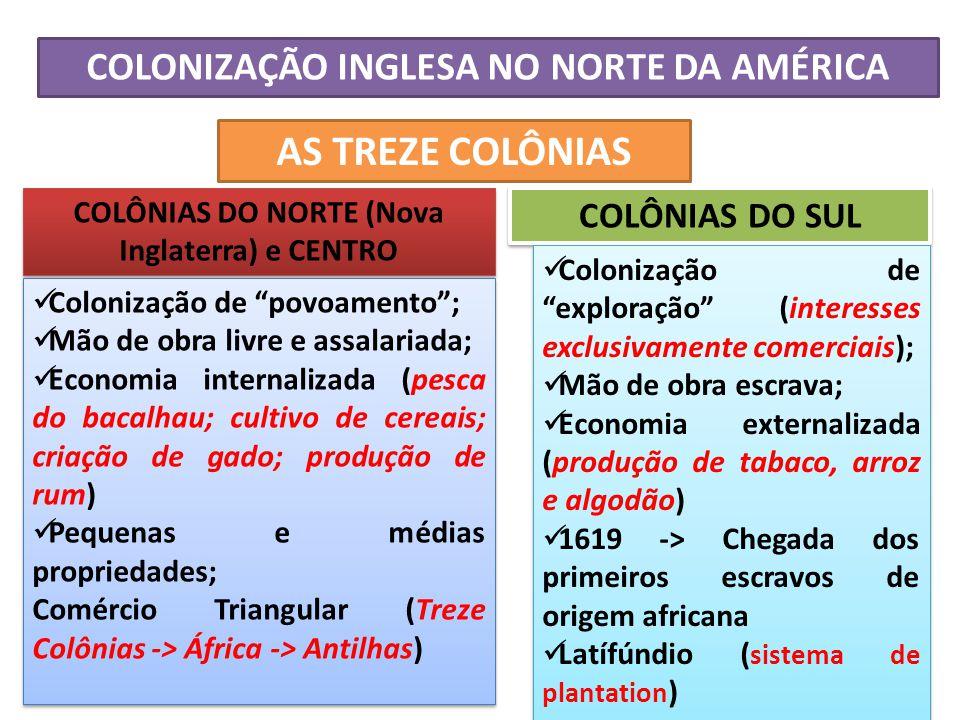 COLONIZAÇÃO INGLESA NO NORTE DA AMÉRICA AS TREZE COLÔNIAS COLÔNIAS DO NORTE (Nova Inglaterra) e CENTRO Colonização de povoamento; Mão de obra livre e