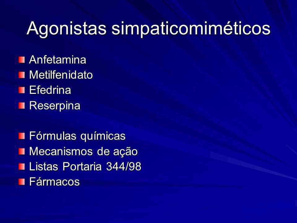 Agonistas simpaticomiméticos AnfetaminaMetilfenidatoEfedrinaReserpina Fórmulas químicas Mecanismos de ação Listas Portaria 344/98 Fármacos