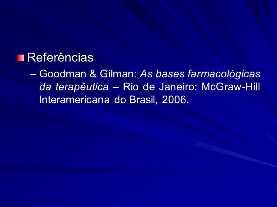 Referências – –Goodman & Gilman: As bases farmacológicas da terapêutica – Rio de Janeiro: McGraw-Hill Interamericana do Brasil, 2006.
