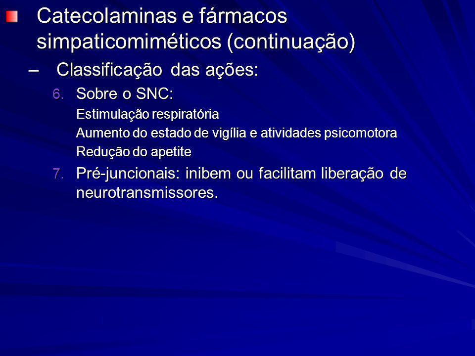 Catecolaminas e fármacos simpaticomiméticos (continuação) –Classificação das ações: 6. Sobre o SNC: Estimulação respiratória Aumento do estado de vigí
