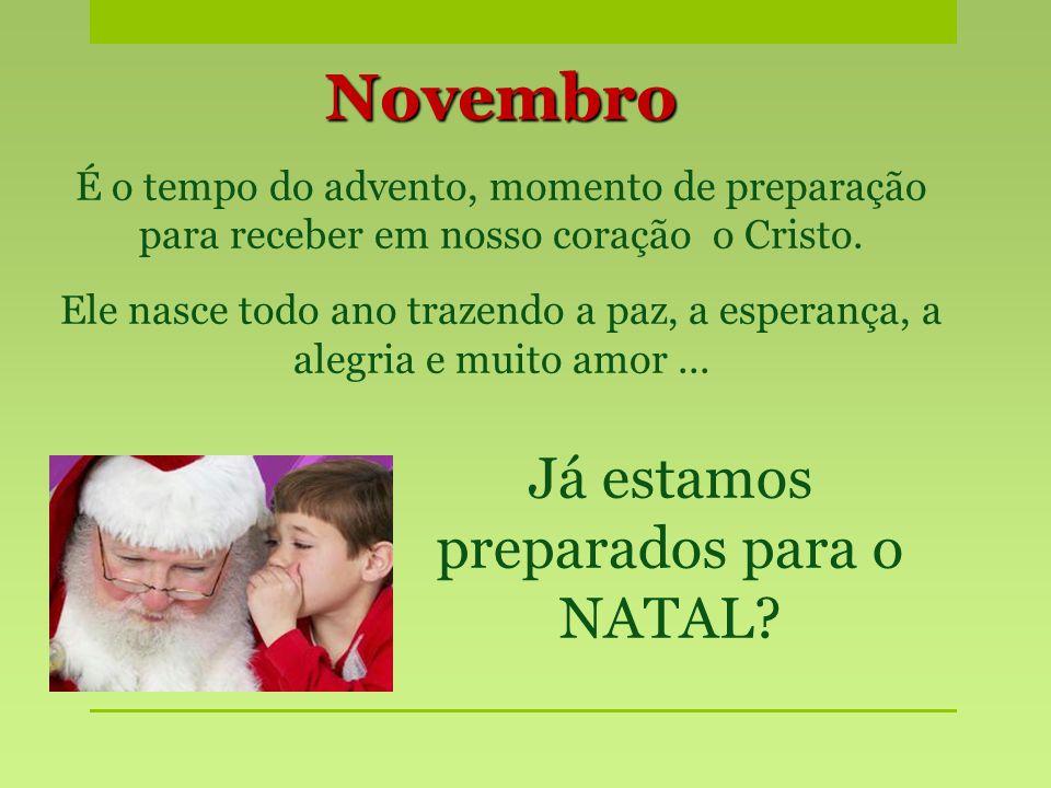 Novembro É o tempo do advento, momento de preparação para receber em nosso coração o Cristo. Ele nasce todo ano trazendo a paz, a esperança, a alegria