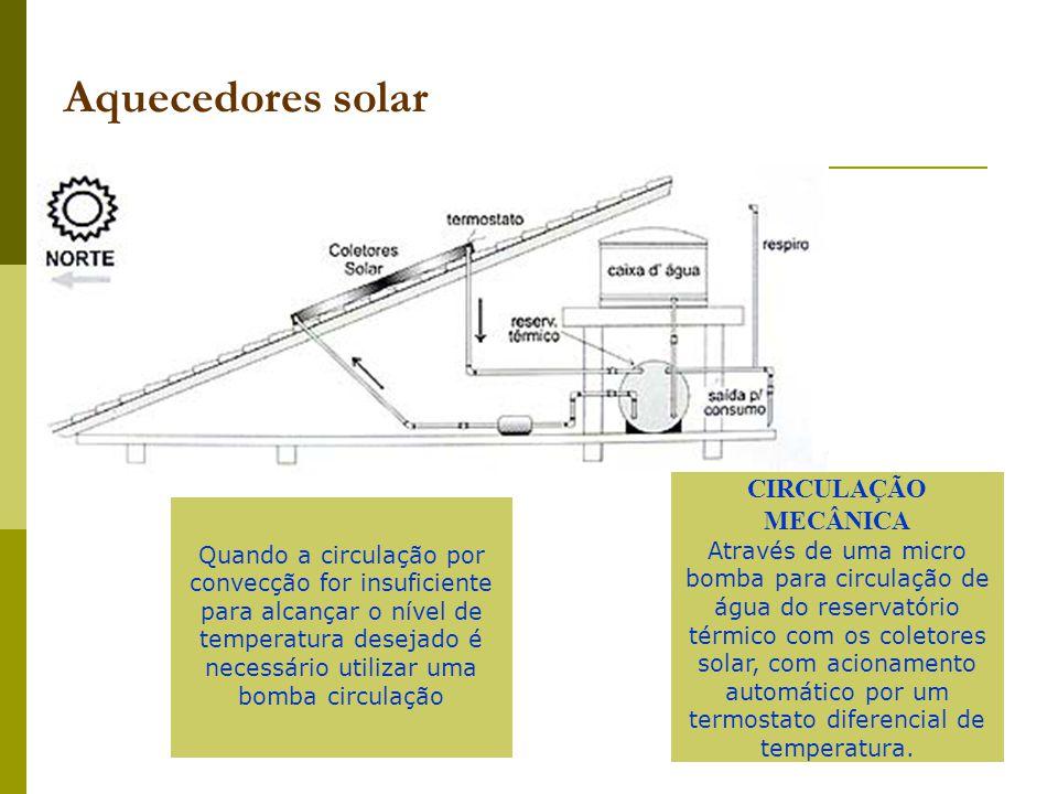 CIRCULAÇÃO MECÂNICA Através de uma micro bomba para circulação de água do reservatório térmico com os coletores solar, com acionamento automático por