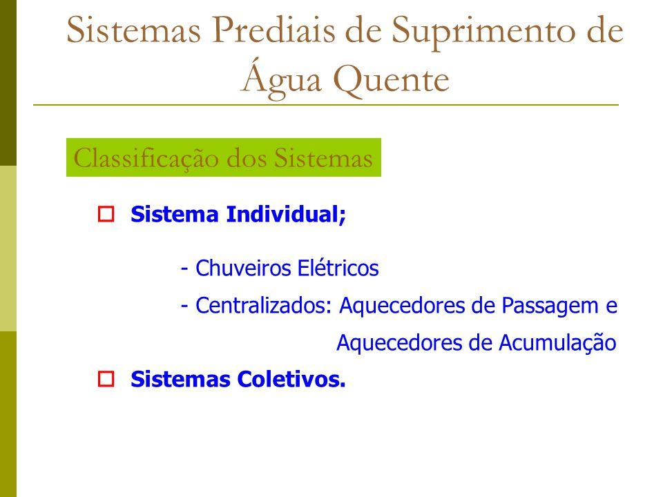 oSistema Individual; - Chuveiros Elétricos - Centralizados: Aquecedores de Passagem e Aquecedores de Acumulação oSistemas Coletivos. Classificação dos