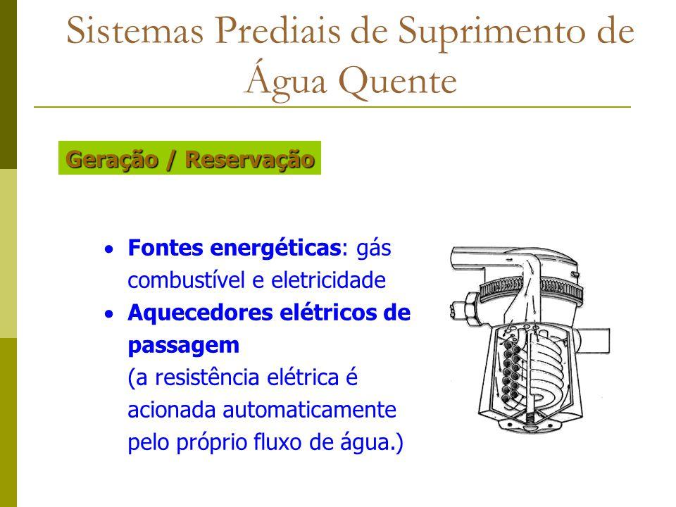 Sistemas Prediais de Suprimento de Água Quente Fontes energéticas: gás combustível e eletricidade Aquecedores elétricos de passagem (a resistência elé