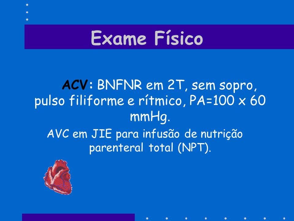 Exame Físico ACV: BNFNR em 2T, sem sopro, pulso filiforme e rítmico, PA=100 x 60 mmHg. AVC em JIE para infusão de nutrição parenteral total (NPT).