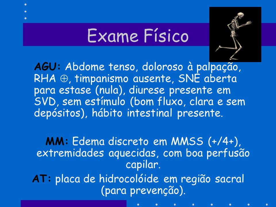 Exame Físico AGU: Abdome tenso, doloroso à palpação, RHA, timpanismo ausente, SNE aberta para estase (nula), diurese presente em SVD, sem estímulo (bo
