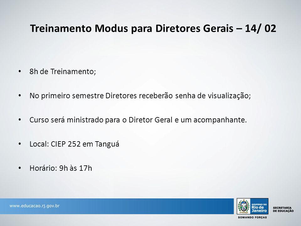 Treinamento Modus para Diretores Gerais – 14/ 02 8h de Treinamento; No primeiro semestre Diretores receberão senha de visualização; Curso será ministrado para o Diretor Geral e um acompanhante.