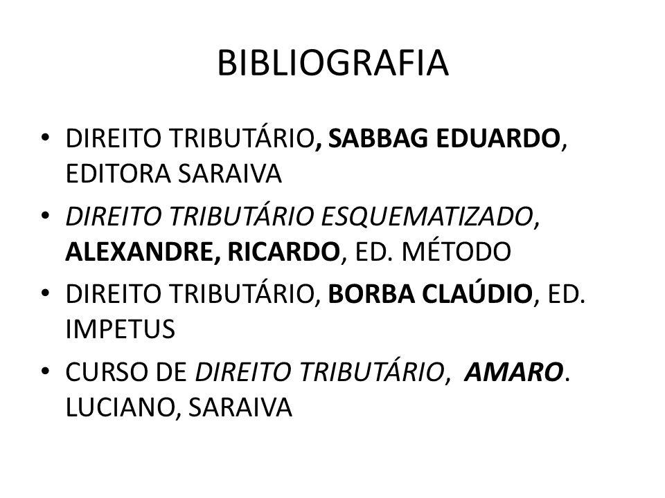 BIBLIOGRAFIA DIREITO TRIBUTÁRIO, SABBAG EDUARDO, EDITORA SARAIVA DIREITO TRIBUTÁRIO ESQUEMATIZADO, ALEXANDRE, RICARDO, ED. MÉTODO DIREITO TRIBUTÁRIO,