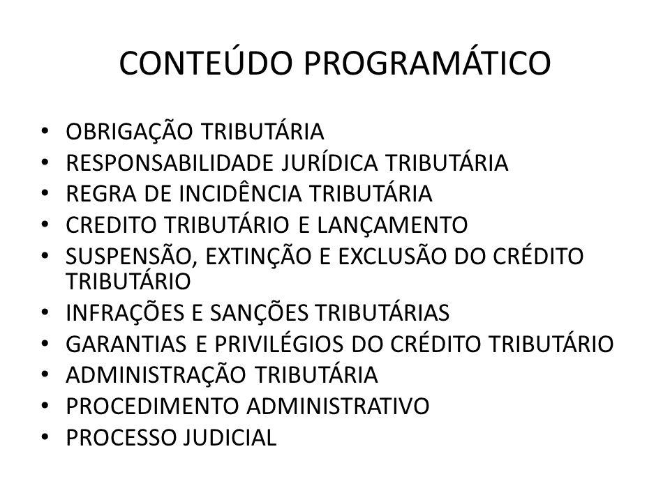 CONTEÚDO PROGRAMÁTICO OBRIGAÇÃO TRIBUTÁRIA RESPONSABILIDADE JURÍDICA TRIBUTÁRIA REGRA DE INCIDÊNCIA TRIBUTÁRIA CREDITO TRIBUTÁRIO E LANÇAMENTO SUSPENS