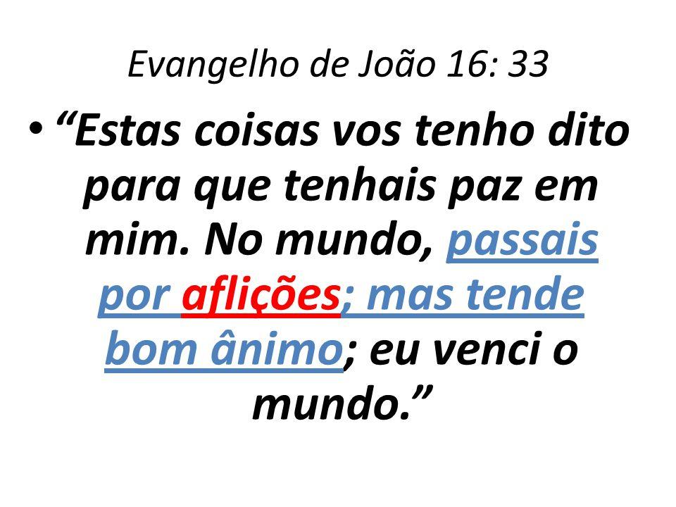 Evangelho de João 16: 33 Estas coisas vos tenho dito para que tenhais paz em mim. No mundo, passais por aflições; mas tende bom ânimo; eu venci o mund