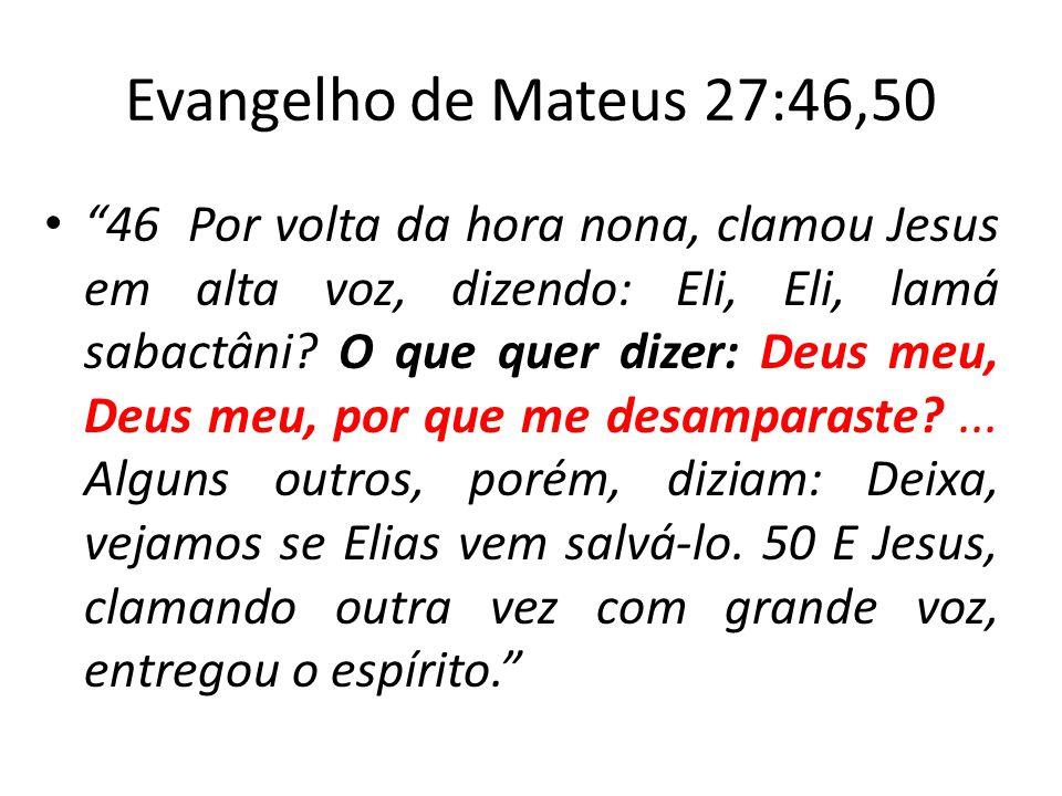 Evangelho de Mateus 27:46,50 46 Por volta da hora nona, clamou Jesus em alta voz, dizendo: Eli, Eli, lamá sabactâni? O que quer dizer: Deus meu, Deus