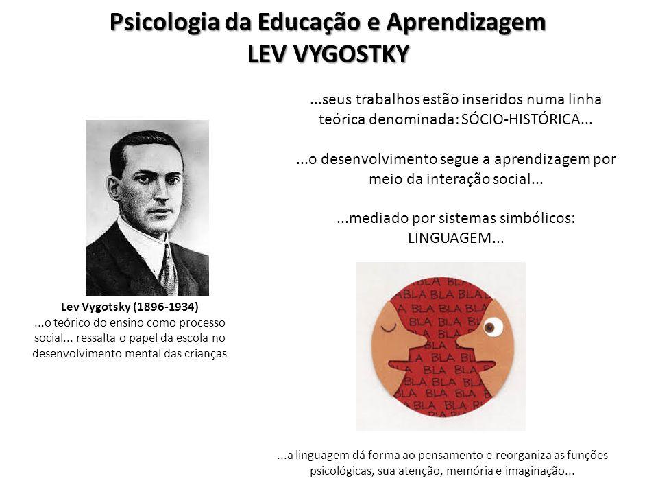 Psicologia da Educação e Aprendizagem LEV VYGOSTKY Lev Vygotsky (1896-1934)...o teórico do ensino como processo social... ressalta o papel da escola n