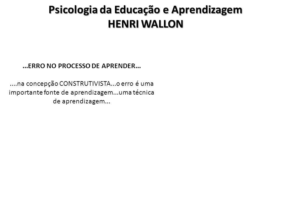 Psicologia da Educação e Aprendizagem HENRI WALLON...ERRO NO PROCESSO DE APRENDER.......na concepção CONSTRUTIVISTA...o erro é uma importante fonte de
