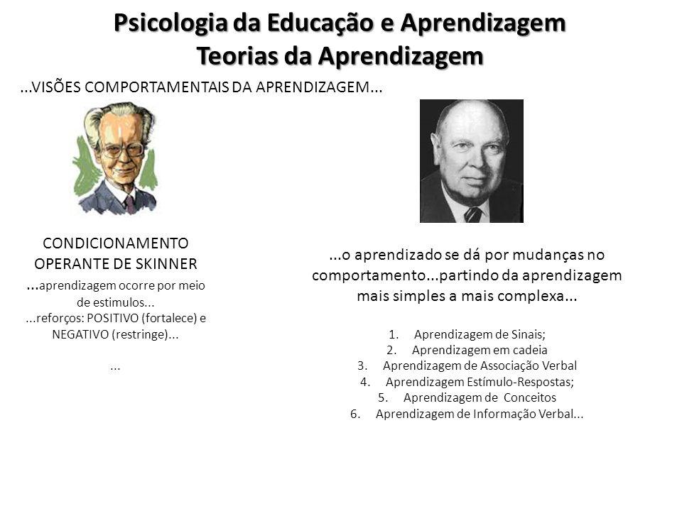 Psicologia da Educação e Aprendizagem Teorias da Aprendizagem Visões Cognitivas da Aprendizagem......existem duas linhas de abordagem opostas....BEHAVIORISTA (Skinner) e a COGNITIVISTA (Bruner)......BRUNER...propõe uma reflexão sobre a aprendizagem Descritiva X Instrutiva...Método de Aprendizagem por Descoberta – INSTRUÇÃO...como a criança tende a representar o mundo...níveis: Representação Enativa ou Ativa:...representa o mundo pela ação...