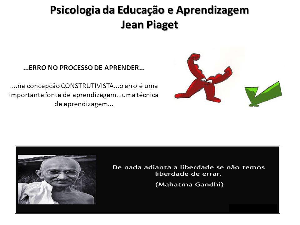 Psicologia da Educação e Aprendizagem Jean Piaget...ERRO NO PROCESSO DE APRENDER.......na concepção CONSTRUTIVISTA...o erro é uma importante fonte de
