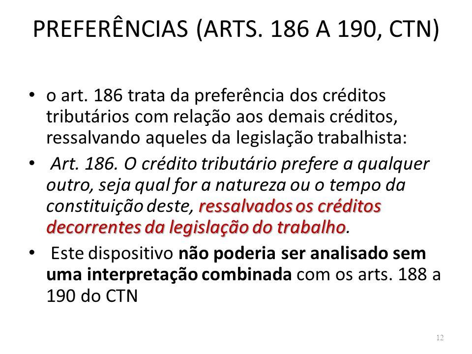 PREFERÊNCIAS (ARTS. 186 A 190, CTN) o art. 186 trata da preferência dos créditos tributários com relação aos demais créditos, ressalvando aqueles da l