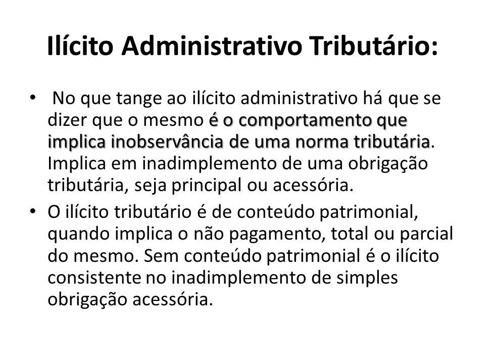 Ilícito Administrativo Tributário: é o comportamento que implica inobservância de uma norma tributária No que tange ao ilícito administrativo há que s