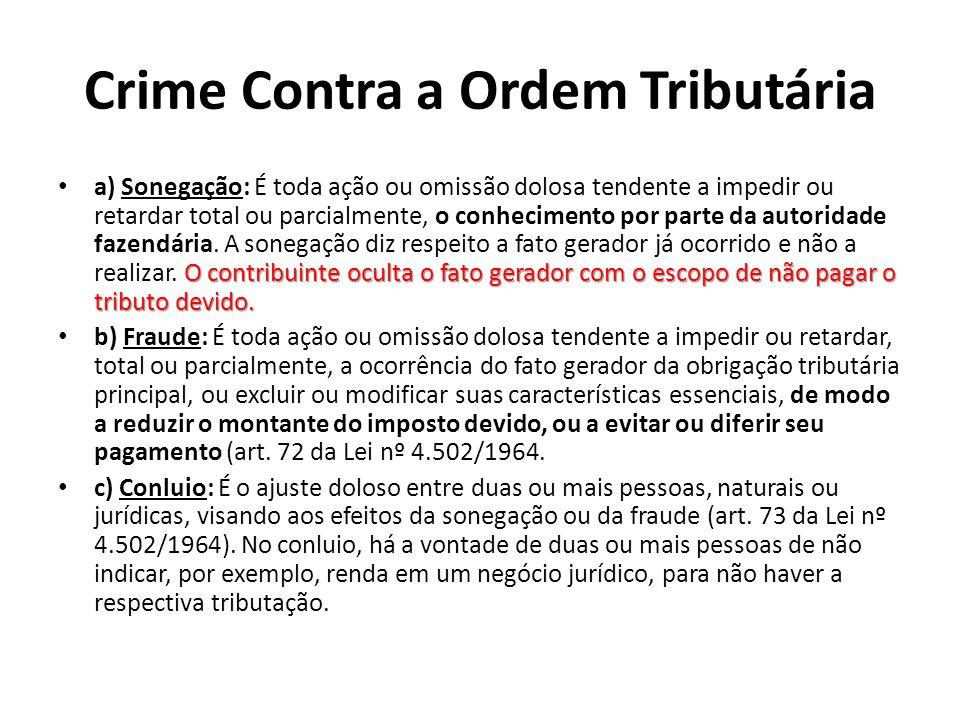 Crime Contra a Ordem Tributária O contribuinte oculta o fato gerador com o escopo de não pagar o tributo devido. a) Sonegação: É toda ação ou omissão
