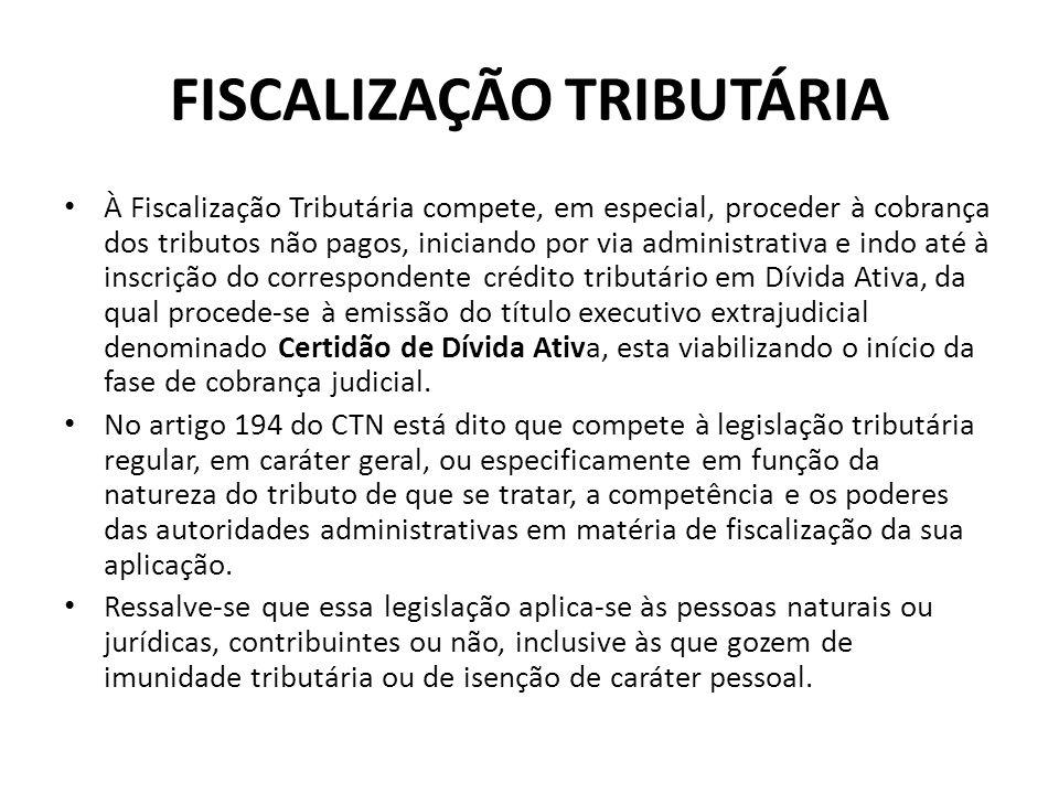 FISCALIZAÇÃO TRIBUTÁRIA À Fiscalização Tributária compete, em especial, proceder à cobrança dos tributos não pagos, iniciando por via administrativa e