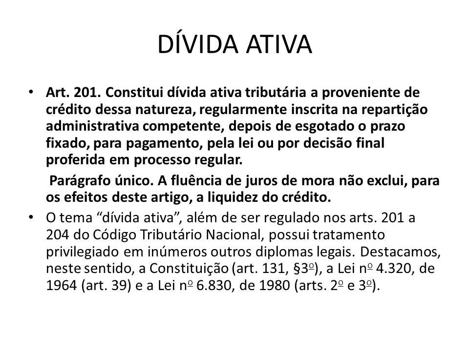 DÍVIDA ATIVA Art. 201. Constitui dívida ativa tributária a proveniente de crédito dessa natureza, regularmente inscrita na repartição administrativa c
