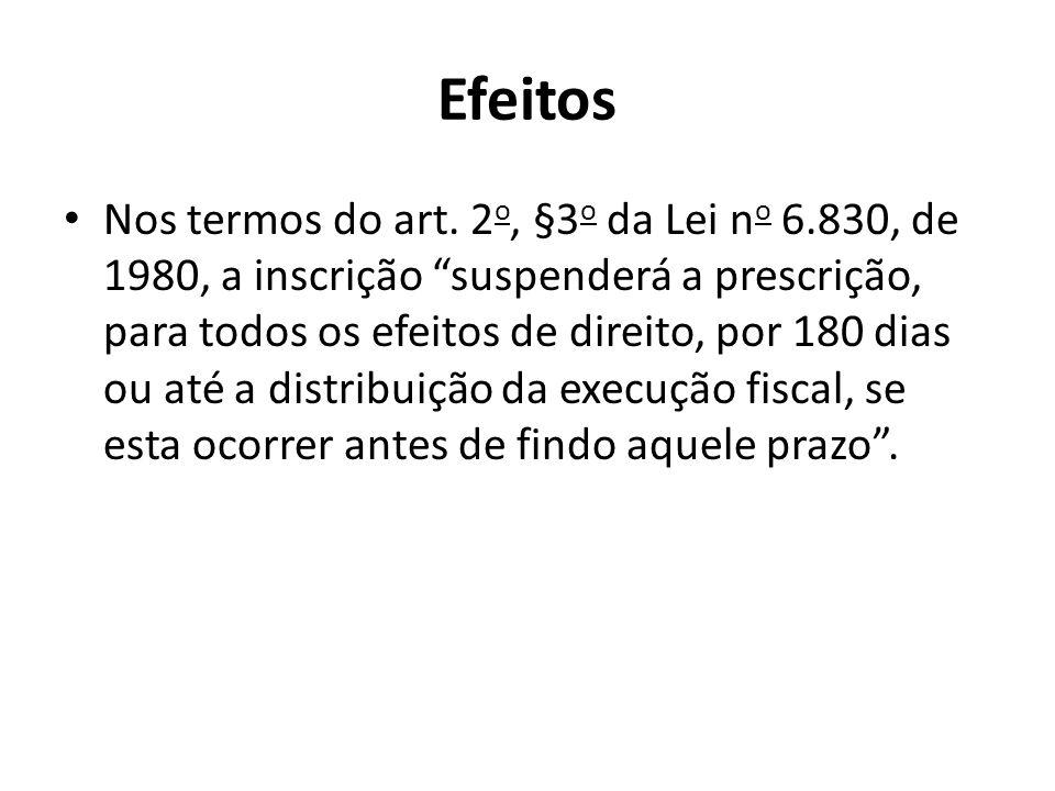 Efeitos Nos termos do art. 2 o, §3 o da Lei n o 6.830, de 1980, a inscrição suspenderá a prescrição, para todos os efeitos de direito, por 180 dias ou
