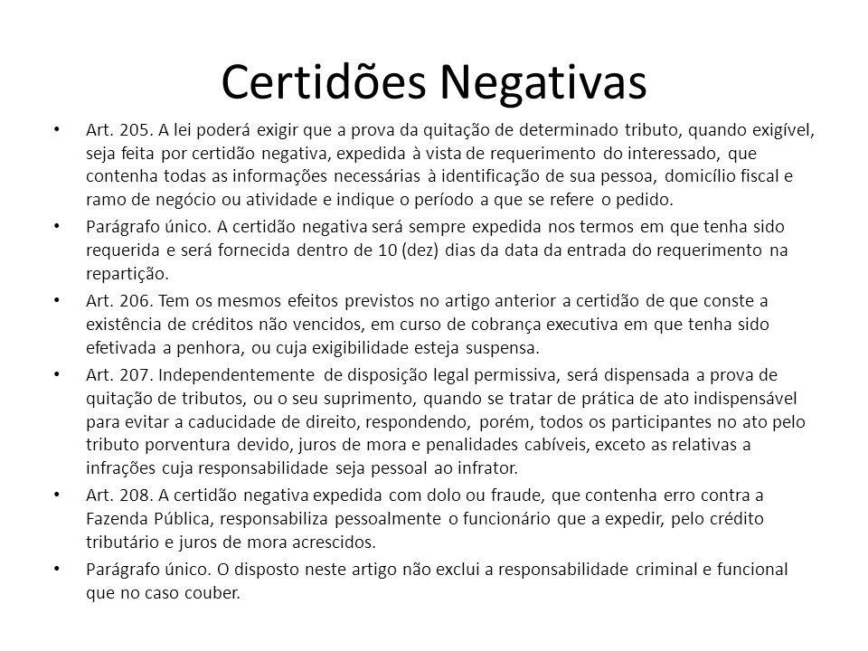 Certidões Negativas Art. 205. A lei poderá exigir que a prova da quitação de determinado tributo, quando exigível, seja feita por certidão negativa, e