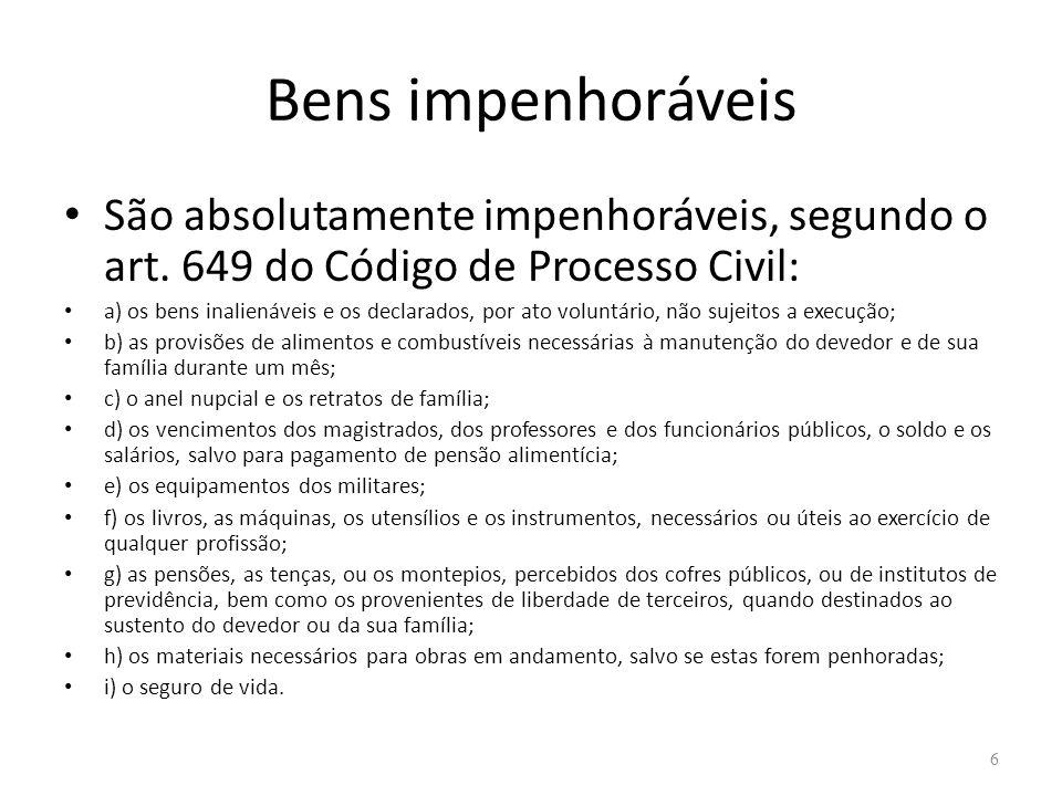 Bens impenhoráveis São absolutamente impenhoráveis, segundo o art. 649 do Código de Processo Civil: a) os bens inalienáveis e os declarados, por ato v